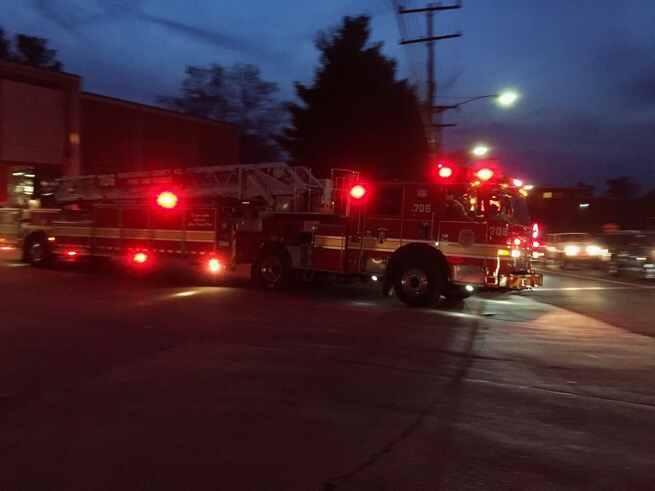 Ladder truck leaving the Bethesda fire station.